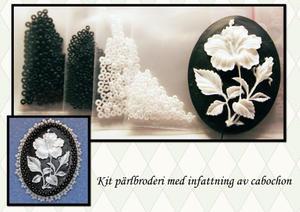 Infattning svart med blomma